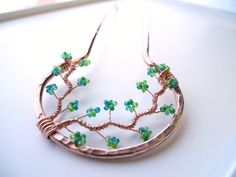 Made to Order Metal Hair Fork - Copper and Green Branches, hair pin, hair stick