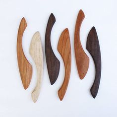 Four handmade Wood Spreaders Wooden Spoon Carving, Dremel Wood Carving, Carved Spoons, Wood Spoon, Small Wood Projects, Wood Turning Projects, Lathe Projects, Woodworking Projects, Woodworking Lathe