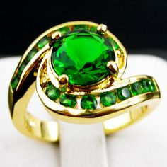 Jewelry Rings Size 7/8/9 Green Emerald Gems Women's 10Kt Yellow Gold Filled Free #Handmade #Journey