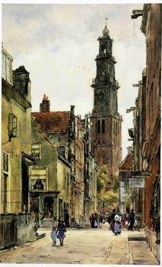 'Gezicht op de Westertoren vanuit de Jordaan', aquarel van Koger Félicien Bobeldijk (1876-1964).