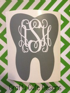 Hey, I found this really awesome Etsy listing at https://www.etsy.com/listing/181857573/monogrammed-tooth-decal