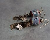 Fringe Floral Earrings with Lampwork glass