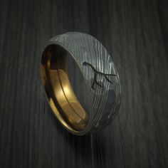 Damascus Steel Hammered Band with Anodized Titanium Sleeve and Custom Antler Engraving Hunter's Band