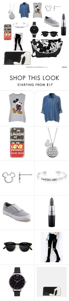 """""""Mickey mouse"""" by quivs-the-quivs on Polyvore featuring Topshop, Casetify, Disney, Vans, MAC Cosmetics, Olivia Burton and Coach"""