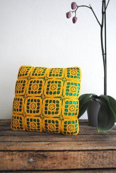 Vintage Handmade Crochet Pillow FREE SHIPPING. $35.00, via Etsy.