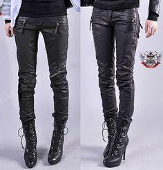 Punk-Armor-Biker-Motorcycle-Racing-Vegan-PU-Faux-Leather-Slim-Cigarette-Pants