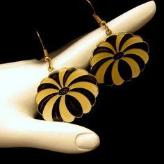 New in the #MyClassicJewelry @Etsy Shop! http://ift.tt/1rEdsaZ Vintage Pierced Dangle Earrings Black Yellow Enamel Flower Very Unique and Bold by MyClassicJewelry #GotVintage