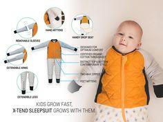 Kids grow fast, X-TEND Sleepsuit grows with them.