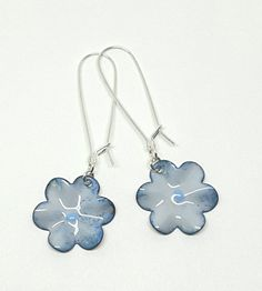 Powder Blue Enamel Flower Earrings by PrayerMonkey on Etsy