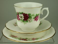 Vintage Queen Anne Rose Floral Trio Cup Saucer Side Plate Bone China KC184