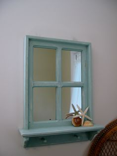 """Shabby Chic Hand Crafted Mirror, 20"""" x 26"""" with a 4"""" shelf and 2 wood pegs.                $64.99"""