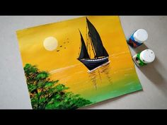 Sailboat sunset seascape acrylic painting Simple acrylic sunset painting tutorial for beginners. Acrylic colors I used here are:- Permanent yellow Titanium . Simple Acrylic Paintings, Seascape Paintings, Acrylic Painting Canvas, Acrylic Art, Easy Paintings For Beginners, Beginner Painting, Painting Tricks, Hand Kunst, Primitive Painting