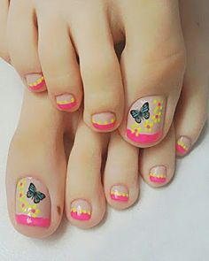60 easy pedicure ideas in 2019 030 Pedicure Designs, Pedicure Nail Art, Toe Nail Designs, Toe Nail Art, Pedicure Ideas, Summer Toe Designs, Love Nails, My Nails, Feet Nail Design