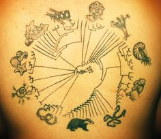 I do believe this is a tattoo illustration of the traditional Kingdom-Phyllum-Class-Order-Family-Genus-Species model we are required to memorize in biology (it stuck). No explanation locatable, but it's still geeky and awesome.