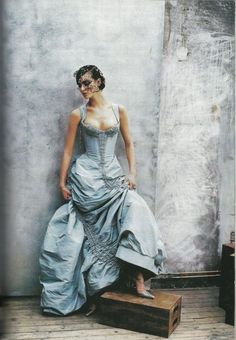 "Christian Lacroix Shalom Harlow in Christian Lacroix Spring 1997 Haute Couture for ""Couture Clash,"" Vogue US April 1997"