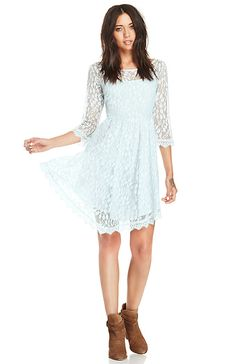 DAILYLOOK Eyelash Lace Fit and Flare Dress in Sky blue XS - L | DAILYLOOK