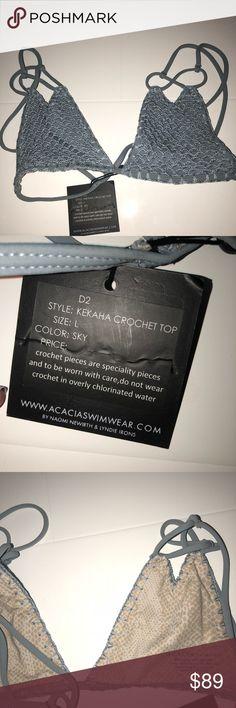"ACACIA KEKAHA CROCHET TOP never worn acacia top w/ tags!!!!! Beautiful ""sky"" color, great quality acacia swimwear Swim Bikinis"