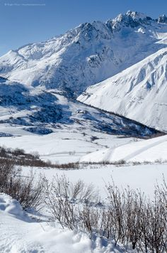 Mountain landscape in the Grand Domaine ski area, Valmorel, Savoie, French Alps.