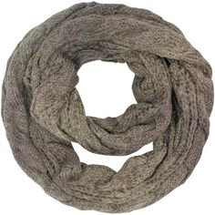 Taupe Two-Tone Thick Cable Knit Ombre Gradient Infinity Scarf ($20) ❤ liked on Polyvore featuring accessories, scarves, heavy, taupe, print infinity scarf, infinity loop scarves, hooded scarf, infinity scarves and infinity scarf