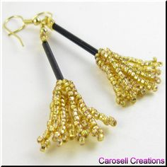 Halloween Witch's Broom Seed Beaded Earrings by carosellcreations, via Flickr