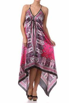 FOHandkerchiefC-908 Silk Feel Handkerchief Hem Criss Cross Back Adjustable Maxi / Long Dress - Purple / Pink,