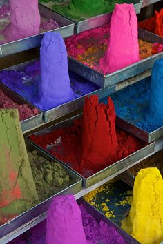 Color Powder in the Market of Pushkar, the locals buy the Color Powder to color their Cows and other Animals during special occassions and festivals To Color, Color Of Life, Holi Powder, World Cultures, Palette, Taj Mahal, India, Cows, Festivals