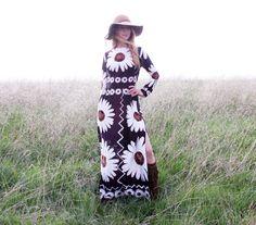 Vintage 60s 70s Bohemian Hippie Dress Floral Print Groovy Festival Novelty Maxi NOS w Tags Lightweight Womens Medium 6 8 on Etsy, €71,97