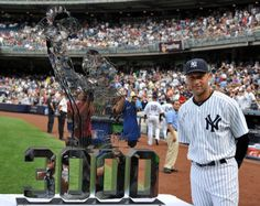 August 13, 2011: The New York Yankees present shortstop Derek Jeter with a 225 pound trophy honoring his entry into the 3,000 hits club. The trophy was commissioned by CC Sabathia and Jorge Posada and depicts Jeter doffing his cap after the milestone hit. (I WAS AT THE STADIUM THIS DAY!!! p.s. the Yanks won!)