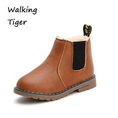 e661f0e4f Chico chica botas impermeables niñas zapatos de moda de botas de invierno  2017 niños zapatos de cuero negro