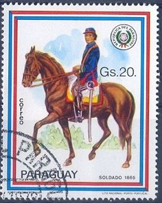 Stamp: Soldier 1865 (Paraguay) (Riders uniforms) Mi:PY 3129