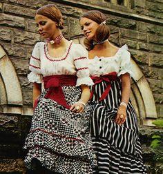 Ruffled pastoral fashions in Seventeen magazine, December 1970.