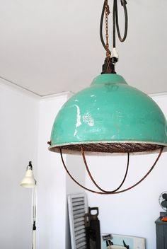 Old aqua hanging lamp