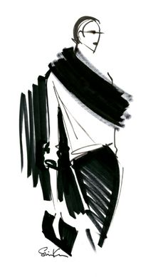 sketch Pencil Skirt and Scarf fashion sketch for @Brent Hannah Republic Anna Karenina Collection #BRAnnaK