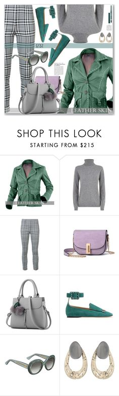 """""""Street Chic, Leather Jacket and Plaid Pants"""" by jecakns ❤ liked on Polyvore featuring Bella Freud, Veronica Beard, Sergio Rossi, Gucci, Alexis Bittar and Rimmel"""