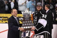 NHL Commissioner Gary Bettman presents the Conn Smythe Trophy to LA Kings goaltender Johnathan Quick 2012