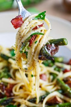 Roasted Asparagus and Mushroom Carbonara with bacon and parmigiano reggiano cheese