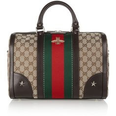 Gucci Vintage Web medium leather-trimmed coated canvas tote ($1,415) ❤ liked on Polyvore featuring bags, handbags, tote bags, gucci tote, zippered tote bag, embroidered tote bags, vintage handbags and studded tote