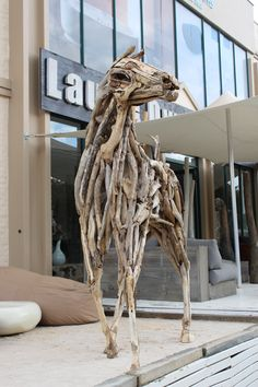 Life-sized, standing Driftwood Horse by Bryan Cusack.