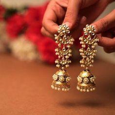 Long jhumkas, gold jhumkas, pearl jhumkas, traditional jewellery, traditional in… – Beauty Pearl Jhumkas, Gold Jhumka Earrings, Indian Jewelry Earrings, Indian Wedding Jewelry, Jewelry Design Earrings, Gold Earrings Designs, India Jewelry, Gold Jewellery Design, Bridal Earrings