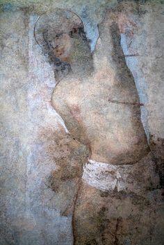 Anonyme, San Sebastiano (affresco), Museo Civico im Palazzo Pubblico, Siena, Tuscany, Italië