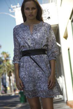 Chiffon Blouson Dress in b/w Print and Black Leather Wrap Belt Cape Town, Wrap Dress, Chiffon, Black Leather, Belt, Collection, Dresses, Fashion, Silk Fabric