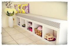 Shoes cubby/bench modified from rolling cubby bench plan. | Do It Yourself Home Projects from Ana White