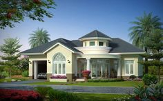 Beautiful Bungalow House Design Ideas - Page 3 of 4 Bungalow House Design, Bungalow House Plans, House Front Design, Unique House Design, House Design Photos, Double Storey House Plans, One Storey House, New Model House, Beautiful Small Homes