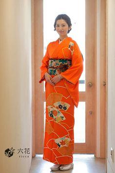訪問着 オレンジ色地紙柄訪問着 結婚式参列・パーティーなど 着物レンタル・着付け・ヘアセット
