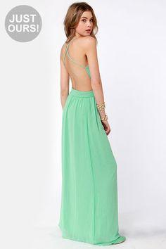 LULUS Exclusive Rooftop Garden Backless Mint Green Maxi Dress