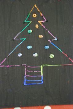 Home made scratch art Christmas tree
