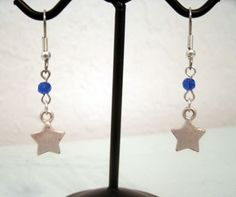Silver Star Earrings with Dark Blue Swarovski Crystals by HollyN Designs on Etsy.com