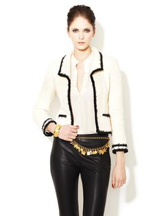 Chanel Winter White Black Trimmed Fantasy Tweed Boucle Jacket