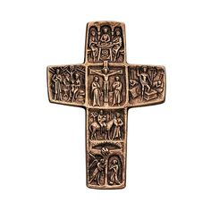 Beautifully detailed bronzed cross depicting the life of Christ. This would make a beautiful gift cross for a wedding or other special sacramental occasion. It depicts the Annunciation, the Flight into Egypt, the Holy Family at Nazareth, the Last Supper, the Crucifixion, and the Resurrection.
