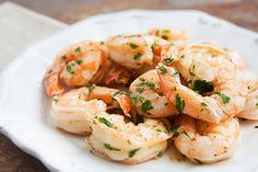 Quick and easy shrimp scampi. Shrimp sautéed in easy scampi sauce with garlic, butter, olive oil, and white wine, tossed with red pepper flakes and parsley. Simply Recipes, Great Recipes, Favorite Recipes, Amazing Recipes, Hcg Recipes, Cooking Recipes, Recipies, Healthy Recipes, Seafood Dishes